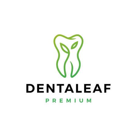 dental leaf logo vector icon illustration