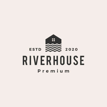 river house hipster vintage logo vector icon illustration