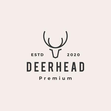 deer head hipster vintage logo vector icon illustration