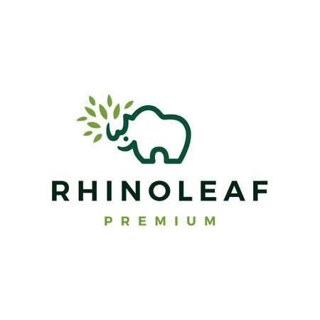 rhino leaf logo vector icon illustration Illustration