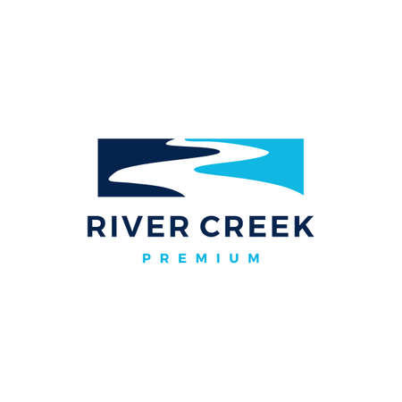 river creek logo vector icon illustration