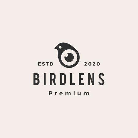 bird lens hipster vintage logo vector icon illustration