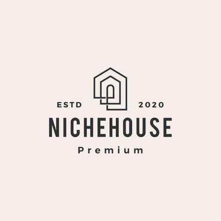 niche house hipster vintage logo vector icon illustration