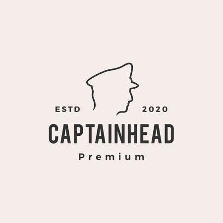 captain hipster vintage logo vector icon illustration  イラスト・ベクター素材