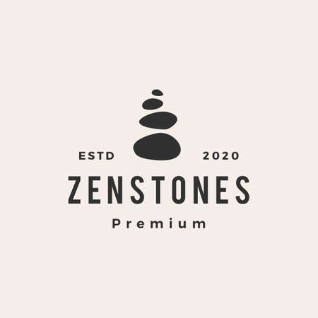 zen stones hipster vintage logo vector icon illustration  イラスト・ベクター素材