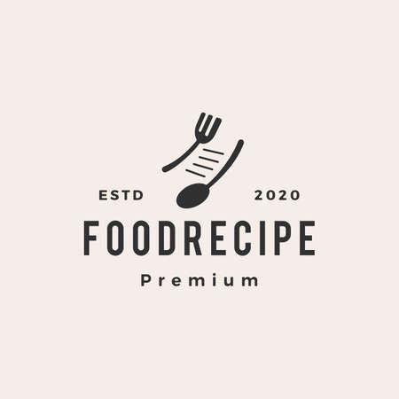 food recipe hipster vintage logo vector icon illustration  イラスト・ベクター素材