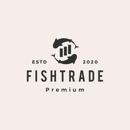 fish trade hipster vintage logo vector icon illustration