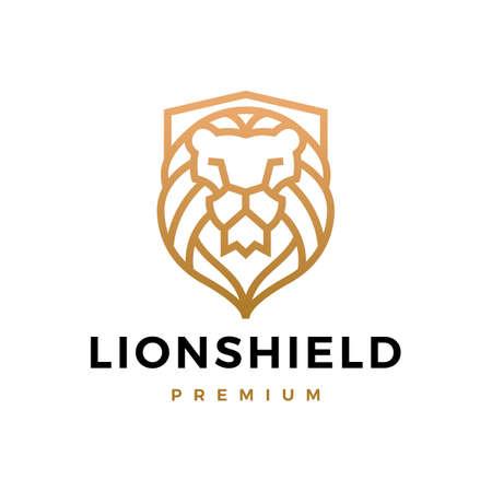 lion shield logo vector icon illustration
