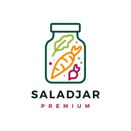 salad jar logo vector icon illustration