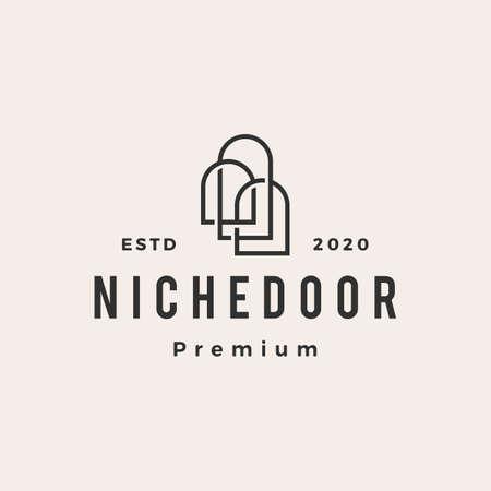 niche door hipster vintage logo vector icon illustration