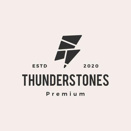 thunder stones hipster vintage logo vector icon illustration