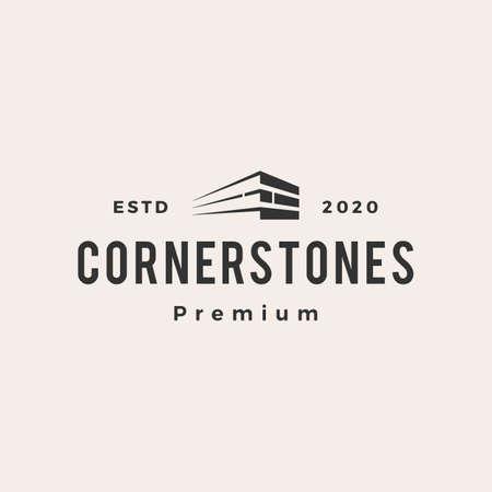corner stone hipster vintage logo vector icon illustration