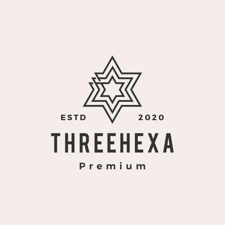 three hexagram hipster vintage logo vector icon illustration