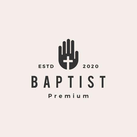 baptist hand christian cross hipster vintage logo vector icon illustration