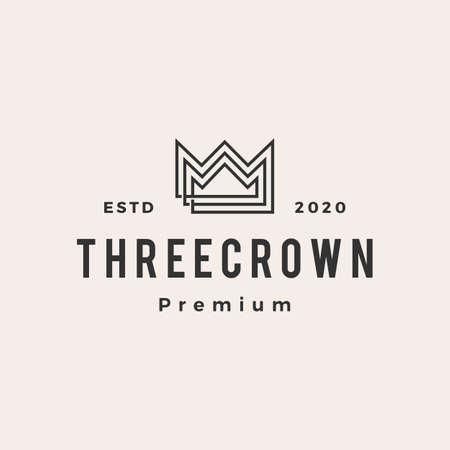 three king crown hipster vintage logo vector icon illustration