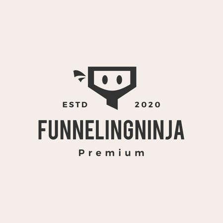 funneling ninja hipster vintage logo vector icon illustration