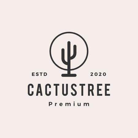cactus tree hipster vintage logo vector icon illustration