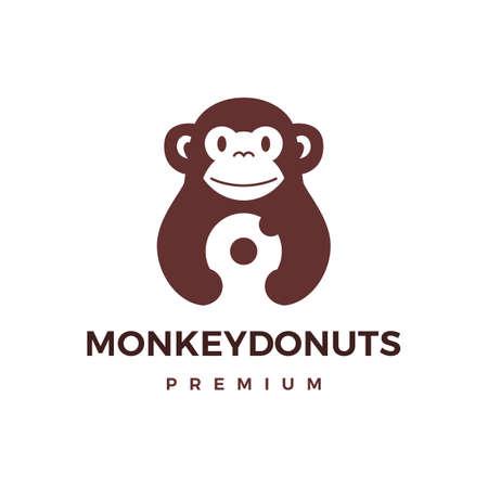 monkey donuts logo vector icon illustration  イラスト・ベクター素材