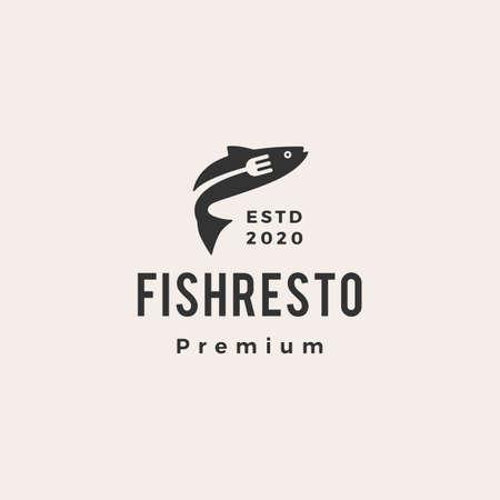 fish restaurant hipster vintage logo vector icon illustration