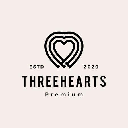 three heart love hipster vintage logo vector icon illustration