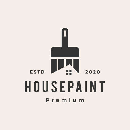 house paint hipster vintage logo vector icon illustration
