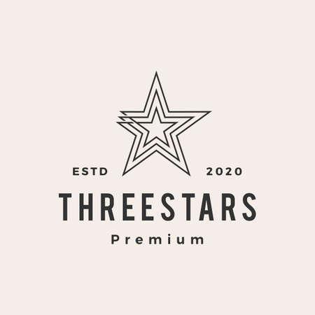 three stars hipster vintage logo vector icon illustration  イラスト・ベクター素材