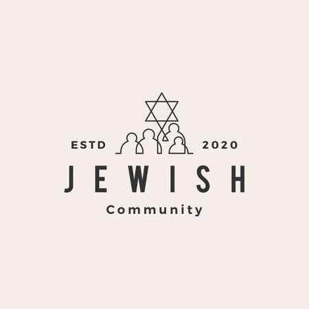 jewish people community hipster vintage logo vector icon illustration
