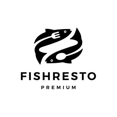 fish restaurant fork spoon logo vector icon illustration