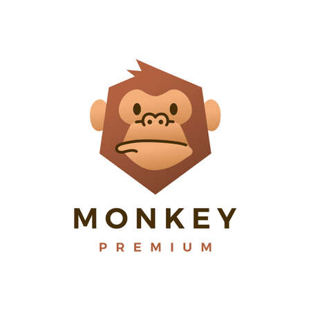 monkey chimp gorilla flat logo vector icon illustration