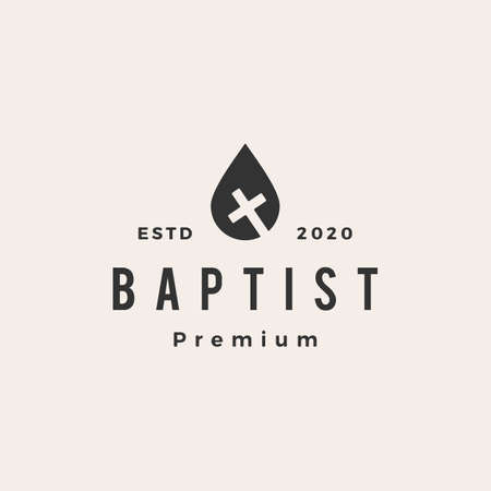 water drop baptist christian cross hipster vintage logo vector icon illustration