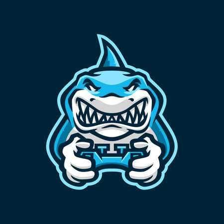 shark gaming joy stick e sport logo vector icon illustration