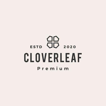 clover leaf hipster vintage logo vector icon illustration  イラスト・ベクター素材