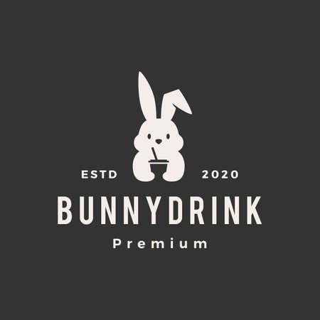 rabbit bunny drink hipster vintage logo vector icon illustration  イラスト・ベクター素材