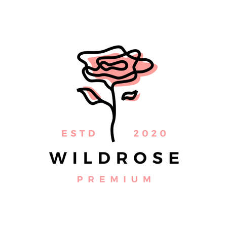 wild rose flower logo vector icon illustration  イラスト・ベクター素材
