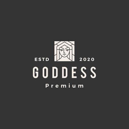 goddess hipster vintage logo vector icon illustration