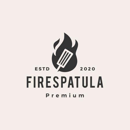 fire spatula hipster vintage logo vector icon illustration