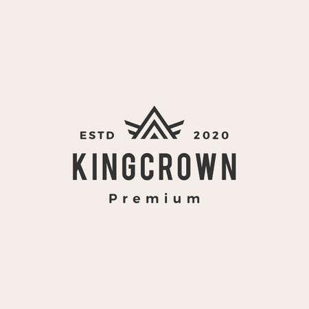 king crown hipster vintage logo vector icon illustration
