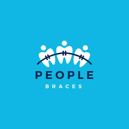 people dental braces logo vector icon illustration