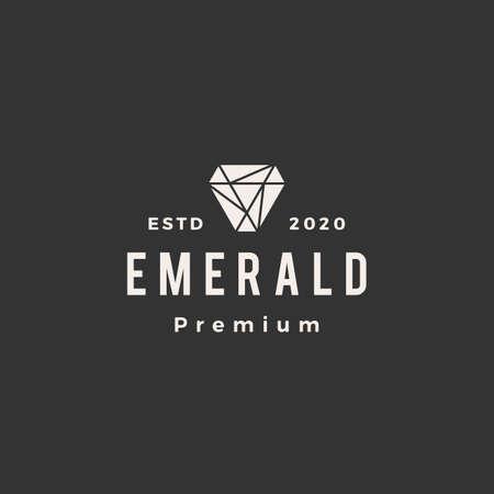 emerald gem hipster vintage logo vector icon illustration