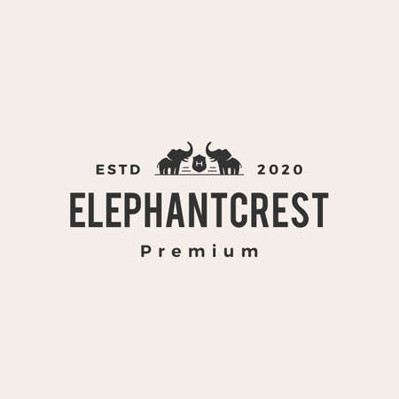 elephant coat of arms hipster vintage logo vector icon illustration