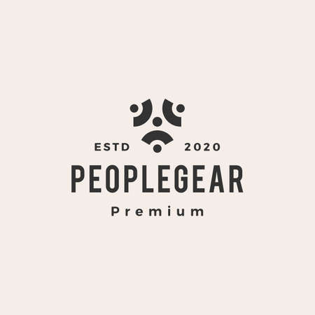 people gear cog cogs hipster vintage logo vector icon illustration