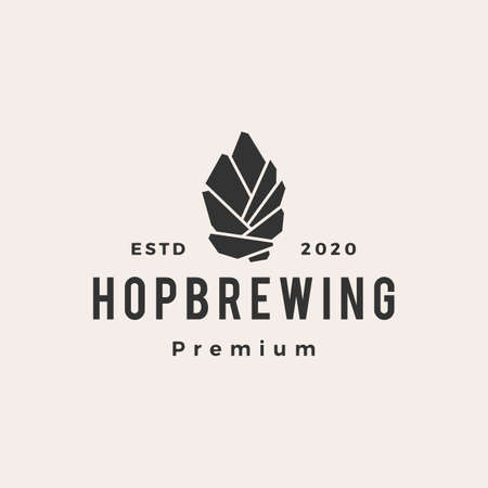 hop brewing hipster vintage logo vector icon illustration  イラスト・ベクター素材