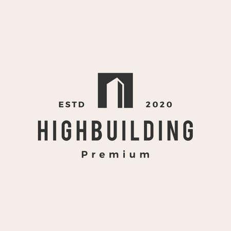 building hipster vintage logo vector icon illustration