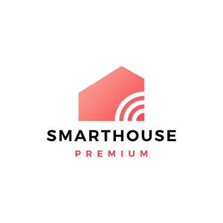 smart home house signal wifi wireless tech logo vector icon illustration