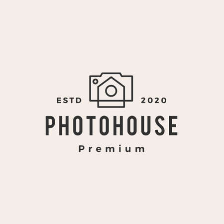 photo house hipster vintage logo vector icon illustration