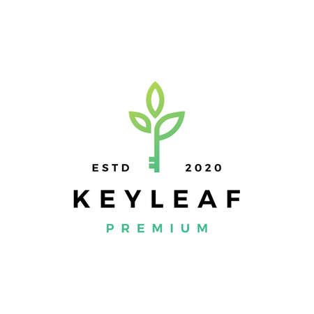 key leaf logo vector icon illustration
