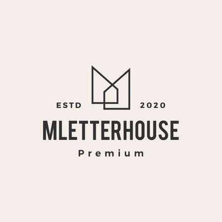 m letter house hipster vintage logo vector icon illustration