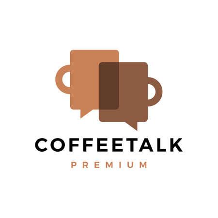 coffee talk logo vector icon illustration