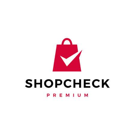 shop check logo vector icon illustration