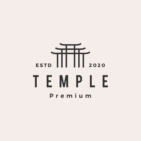 temple hipster vintage logo vector icon illustration